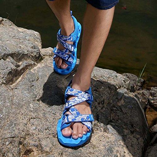 ZXCV Zapatos al aire libre Hombres planos con sandalias al aire libre Azul