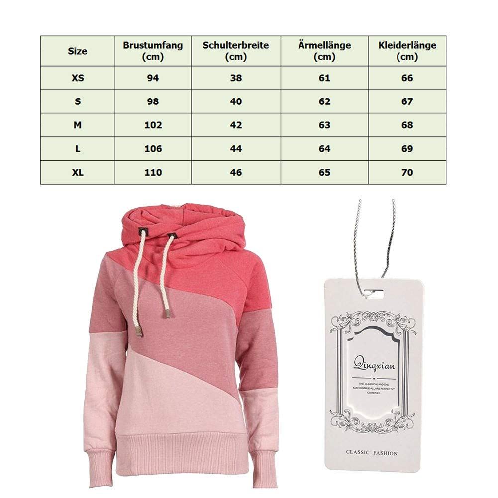 Qingxian Pullover Damen Hoodie Oberteile Sweatshirt Patchwork Pulli Sweatjacke Kapuzenpullover mit Kordel und Rollkragen Khaki L