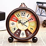 Zehui Retro Quartz European Simple Countryside Creative Student Bedside Non Ticking Silent Alarm Table Hanging Clock 18#