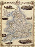 1800'S ENGLAND WALES LONDON OXFORD LIVERPOOL BAY CORNWALL MAP LARGE VINTAGE POSTER REPRO