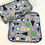Sushi 12 Pack ECO CLOTH WIPES//100% Cotton ~ Large 8x8'' ~ Double Layer/2 ply by Primm n Proper Baby