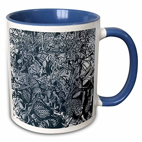 3dRose PS Vintage - All the Kings Horses and All the Kings Men Vintage - 15oz Two-Tone Blue Mug (mug_110217_11)