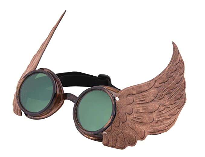 Men's Steampunk Goggles, Guns, Gadgets & Watches Gold Winged Steampunk Goggles $14.95 AT vintagedancer.com