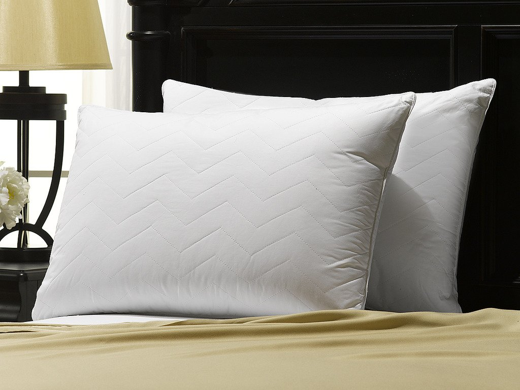 Ella Jayne Home Standard Size Bed Pillows- 2 Pack White Hotel Pillows- Gel Fiber Filled SOFT Gel Pillows with Hypoallergenic 100% Cotton Chevron Quilted Cover- Best Pillow For Stomach Sleepers