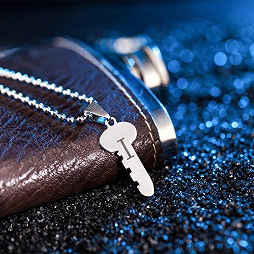 kanggest 2/PCS Collana di coppia chiave di blocco a forma di cuore collana del alfabeto ciondolo collana coppia Set invernale con accessori
