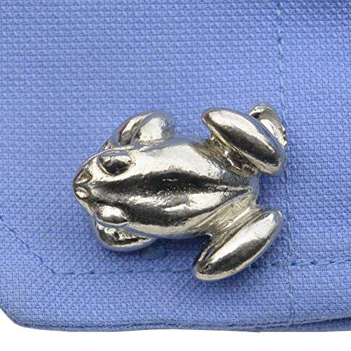 Luxury Fine Pewter Crouching Frogs Cufflinks, Handcast by William Sturt