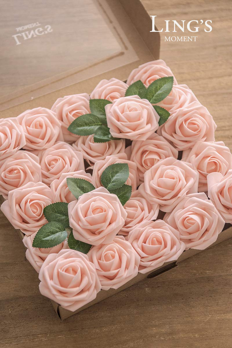 Lings Moment Artificial Flowers Blush Roses 50pcs Real Looking Fake