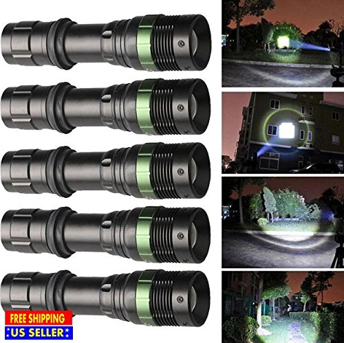 Produit Royal 5Pcs 10000 Lumen LED Flashlight XM-L T6 Cree Tactical 3 Zoomable Modes Torch Camping Hunting Cycling Light Police 18650 Aluminum