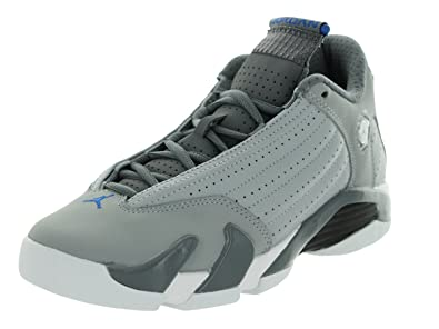 wholesale dealer bf822 4d33c Jordan Air 14 Retro BG Big Kids Shoes Wolf Grey/Sport Blue-Clay Grey-White  487524-004