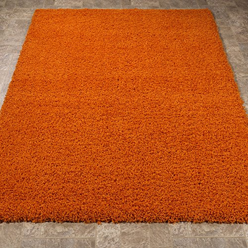 Ottomanson Soft Cozy Color Solid Shag Area Rug Contemporary Living and Bedroom Soft Shag Area Rug, Orange, 5'3