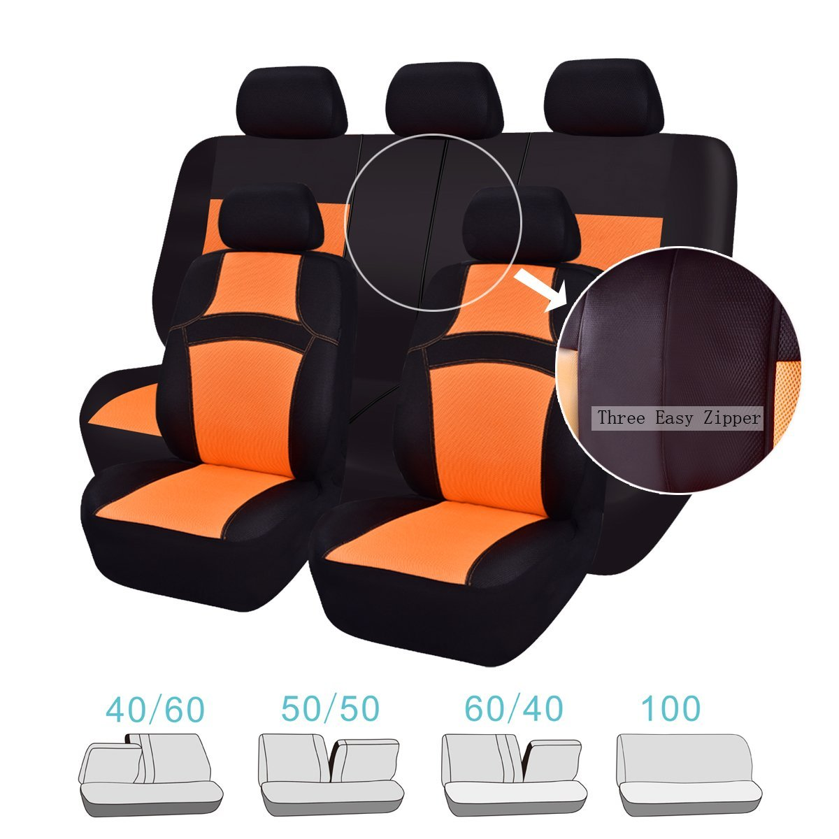CAR PASS RAINBOW Universal Fit Car Seat Cover 14pcs, Sport Orange NEW ARRIVAL 100/% Breathable With 5mm Composite Sponge Inside,Airbag Compatible