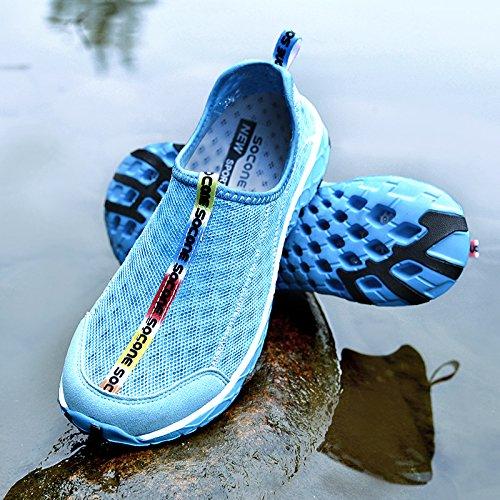 QANSI zapatillas hombre zapatos deportivo de agua para hombre zapatillas de Running hombre de malla transpirable de agua zapatillas de playa para hombre Azul