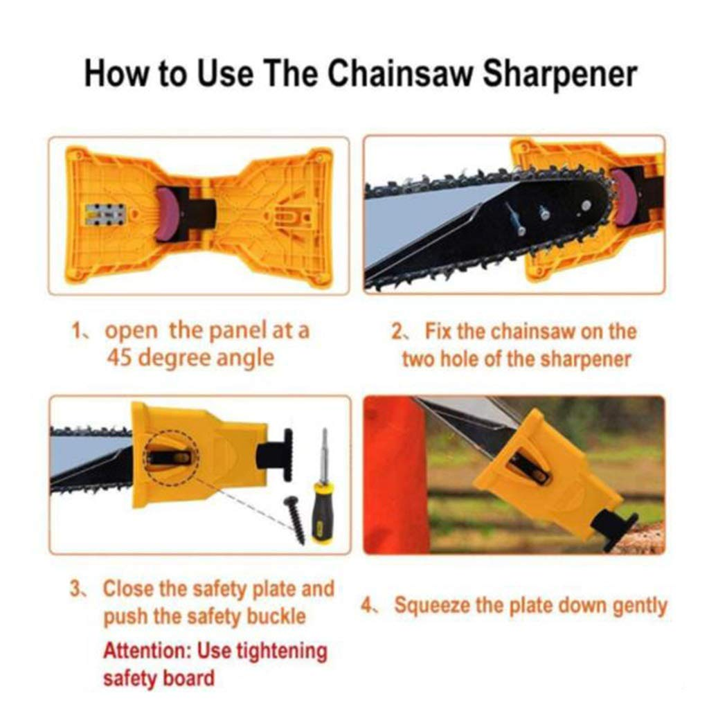 Woodworking Fast Grinding Chain Tool Suitable for 14//16//18//20 inch Chain saws with 2 Extra whetstones Chainsaw Dental Sharpener