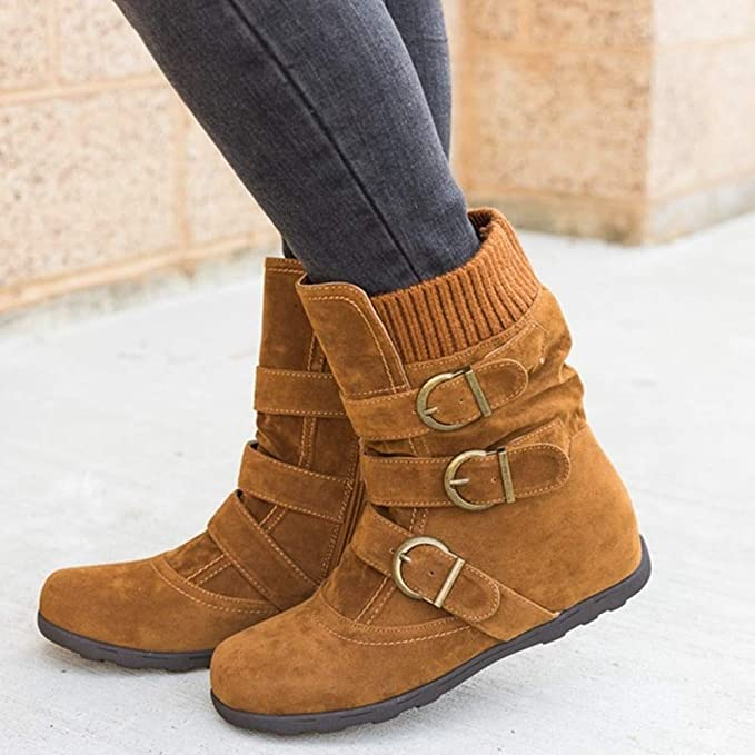 Amazon.com: Dunnomart Women Suede Round Toe Zipper Flat Pure Color Buckle Strap Keep Warm Snow Boots bota Feminina schoenen vrouw: Kitchen & Dining