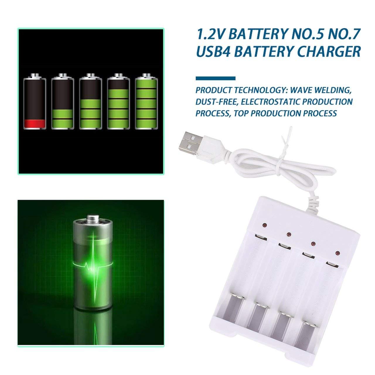 ESjasnyfall Cargador de bater/ía para bater/ías AA AAA Cargador de bater/ía de 4 Puertos con Enchufe USB Accesorios para Herramientas el/éctricas universales Blanco