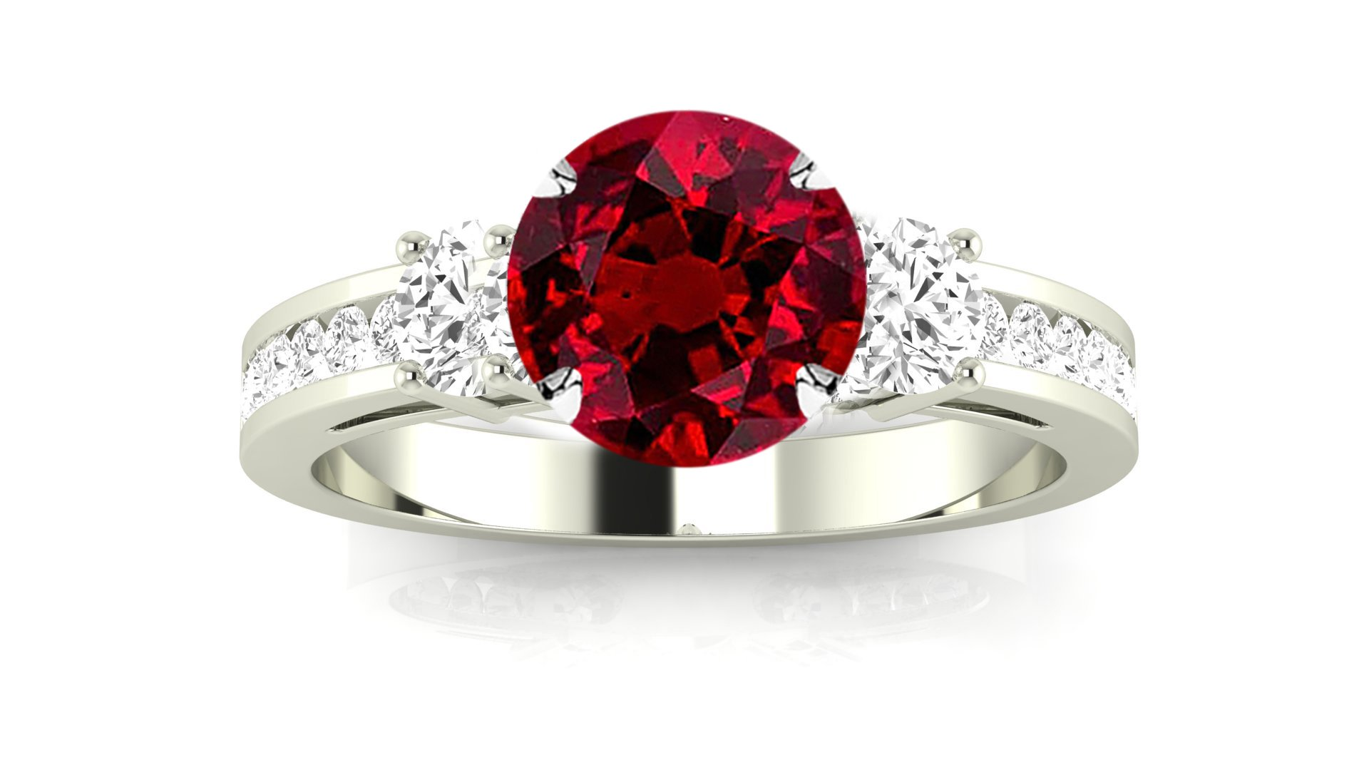 Platinum Channel Set 3 Three Stone Diamond Engagement Ring with a 0.5 Carat Ruby Heirloom Quality Center