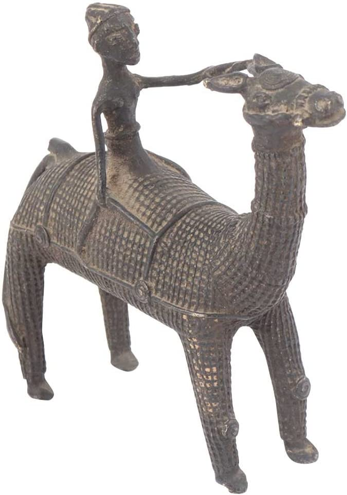 Indian Shelf Handcrafted Brass Dokra Work Camel with Rider Statues Decoration Vintage Statement Pieces