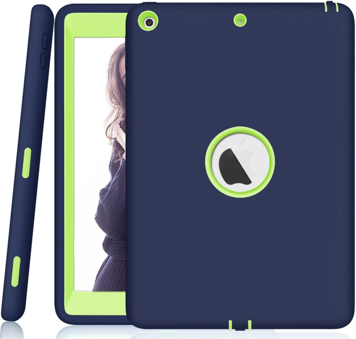 Sevrok iPad 6th Generation Cases - [ Minimalist-Series ] Slim Shockproof Defender Hard Shell+Silicone Exterior for Apple iPad 2018 9.7-inch, Compatible with ipad 2017 (5th Generation), Navy