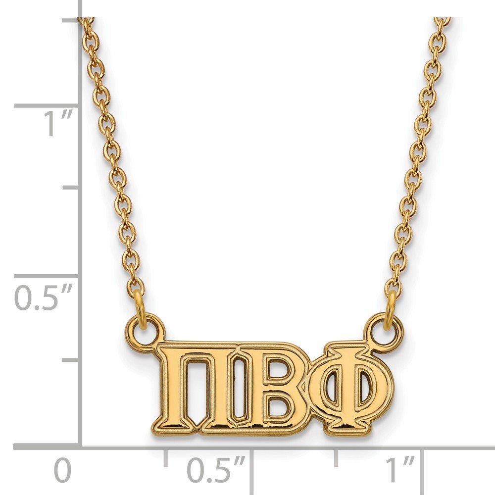 18mm Solid 925 Sterling Silver with Gold-Toned Pi Beta Phi Medium Pendant with Necklace