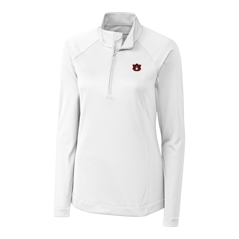 Cutter & Buck NCAA Auburn Tigers Women's Long Sleeve Evolve Half Zip Shirt, Small, White