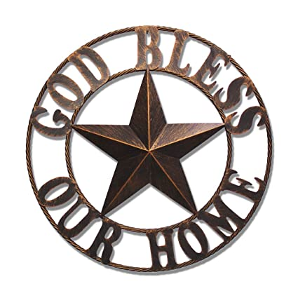 Amazon 26 God Bless Our Home Texas Metal Barn Wall Decor Western Iron Vintage Decoration For Kitchen Posters Prints