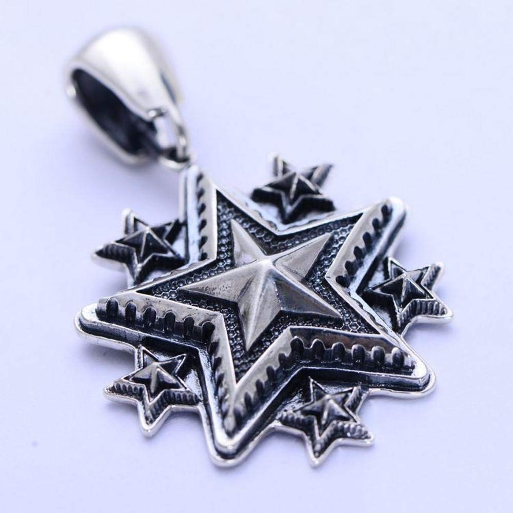 MAFYU S925 Sterling Silver Mens Retro Personality Punk Rock Style Five-Pointed Star Pendant Necklace