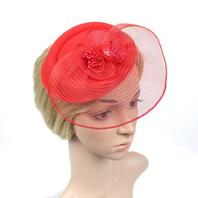 BR-Rofa Red Pillbox Fascinator with Flower Party Net Flower Headpieces for  Girls 1f5103ab65a