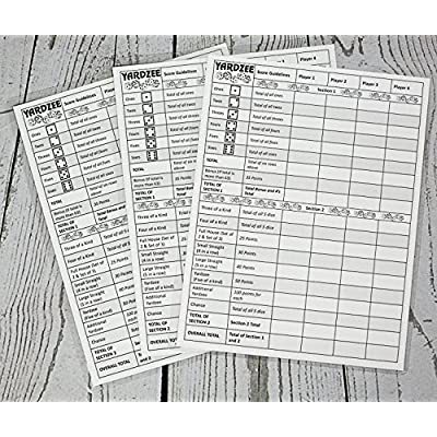 "3 Yardzee score cards. Laminated score cards with rules on the back, Yard Games, Outdoor Games, Outdoor events. Reusable score cards. Size- 8.5"" x 11"""