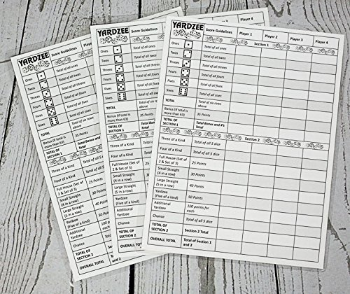 3 Yardzee Score Cards. Laminated Score Cards With Rules for sale  Delivered anywhere in USA