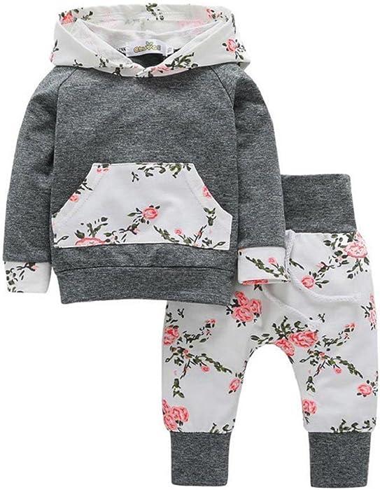 PAOLIAN 2Pcs NiñO PequeñO Bebé Chico NiñA Ropa Set Sudaderas Florales Tops + Pantalones Trajes