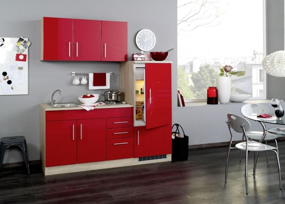 Single Küche 180 Cm Hochglanz Rot Mit Geräten Und Spüle Amazon