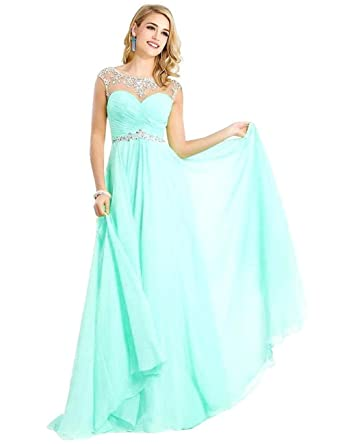 MisShow line Sexy Backless Sparkly Crystal Long Prom Evening Dresses,Aqua,Size 2