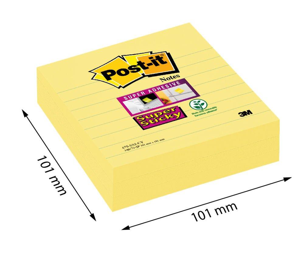 101 x 101 mm Post-it 5074 Super Sticky Foglietti a Righe 70 Fogli Confezione da 3 Blocchetti Giallo Canary