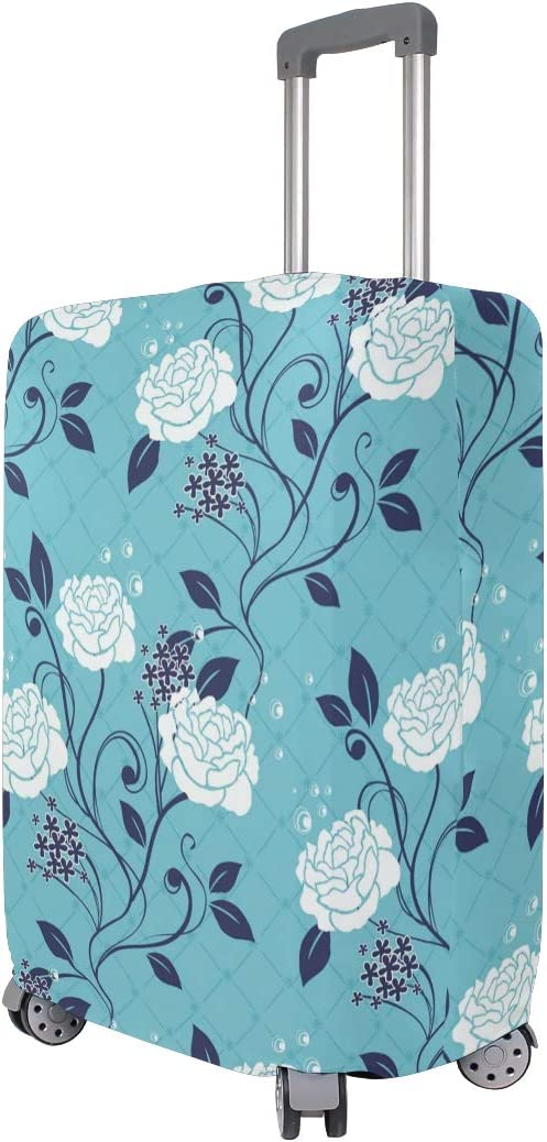 MALPLENA Blue Rose Flowers Luggage Protector Suitcase Cover