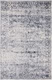 Texture Modern Carved Vintage Traditional Look & Feel Dark Blue 4' x 6' Ephesus Collection Area Rug