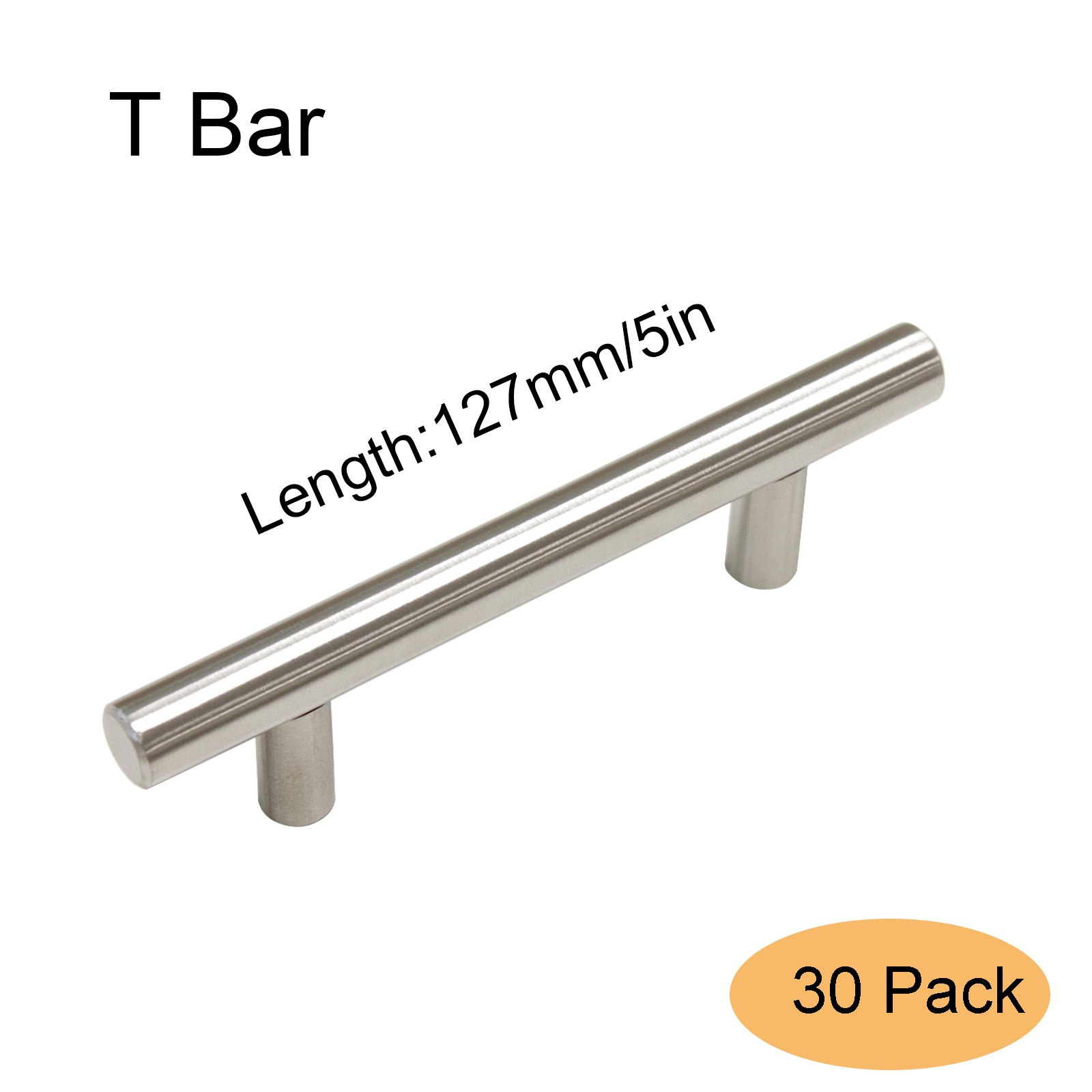 Gobrico Brushed Stainless Steel T Bar Door Handles Knobs 5in Long Euro Style Kitchen Cabinet Drawer Pulls 30Pack by Gobrico