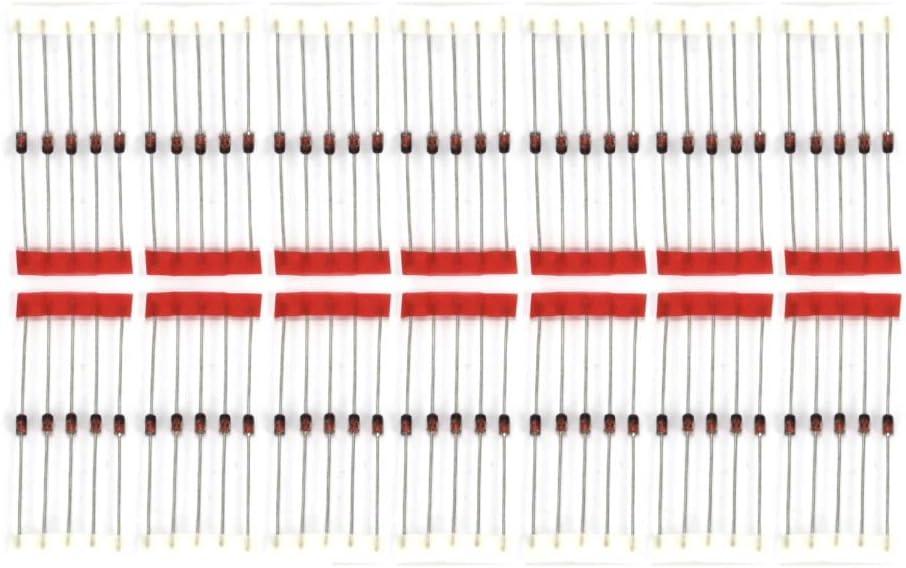 Jolicobo 70 Piezas 14 valores 1W 3.3V- 30V Zener a través del Kit de Surtido de diodos (3.3v, 3.9V, 4.7V, 5.1V, 5.6V, 6.2V, 8.2V, 9.1V, 10V, 12V, 13V, 15V, 18V, 30V)
