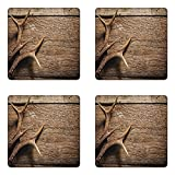 Ambesonne Antlers Coaster Set of Four, Deer Antlers on Wood Table Rustic Texture Surface Hunting Season Fall Gathering Art, Square Hardboard Gloss Coasters for Drinks, Umber