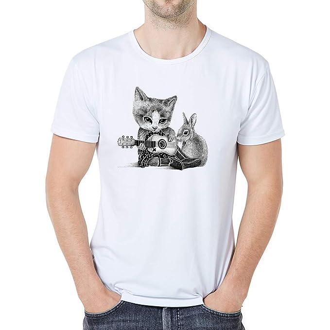 Tosonse Camiseta para Mujer Tops Blusa Cuello Redondo Algodón Gato ...