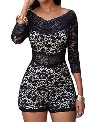 0931d9521e7 Whoinshop Women s Chic Lace Overlay Off-Shoulder V-Neck Long Sleeve Short  Bodycon Jumpsuit