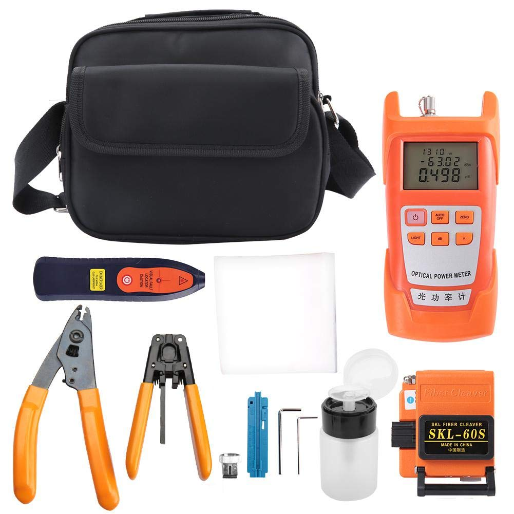 FTTH Tool Kit, 11Pcs Fiber Optic FTTH Tool Kit Set Fiber Cleaver Optical Power Meter SKL-60S