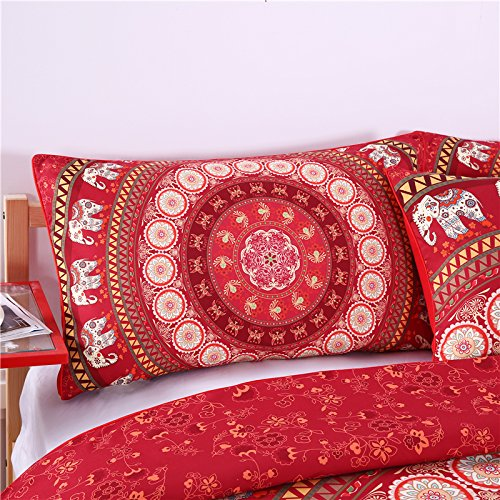 Sleepwish Red Mandala Pillowcase Indian Elephant Messenger