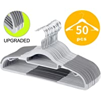 """OIKA Plastic Hangers 50 Pack Dry Wet Clothes Hangers with Super Non-Slip Pads 0.2"""" Thickness 16.5 Inch Space Saving Gray"""
