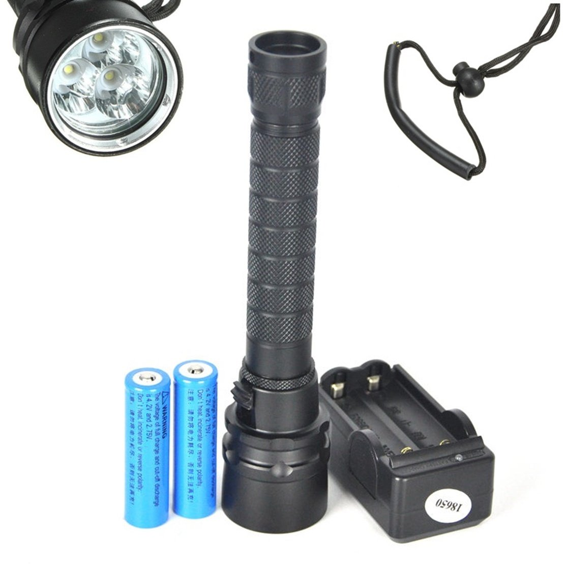 1Pc Matchless Popular 3x LED 100m Diving Flashlight 6000Lm Skid Proof Scuba Lamp Underwater Color Black with Battery Charger by GVGs Shop