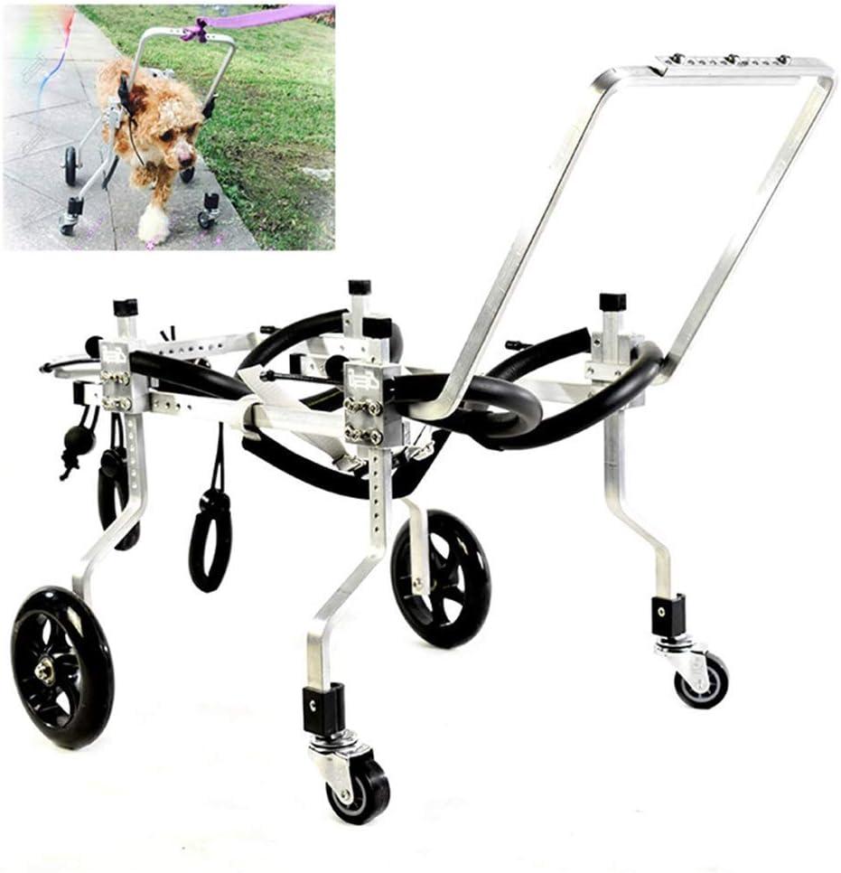 AMITD - Silla de ruedas para perros, 4 ruedas, para adultos, gatos, aleación de aluminio, ajustable, para personas con discapacidad, para pasear a los perros, 1-2,5 kg