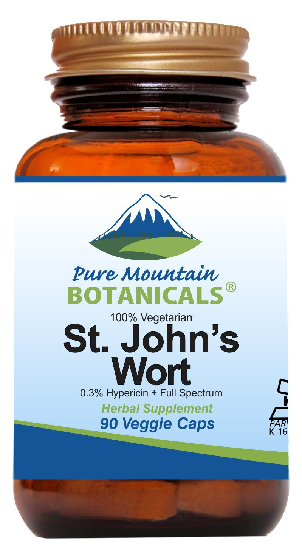 St Johns Wort Capsules - 90 Kosher Veggie Capsules Now with Organic St. John's Wort & Potent Extract