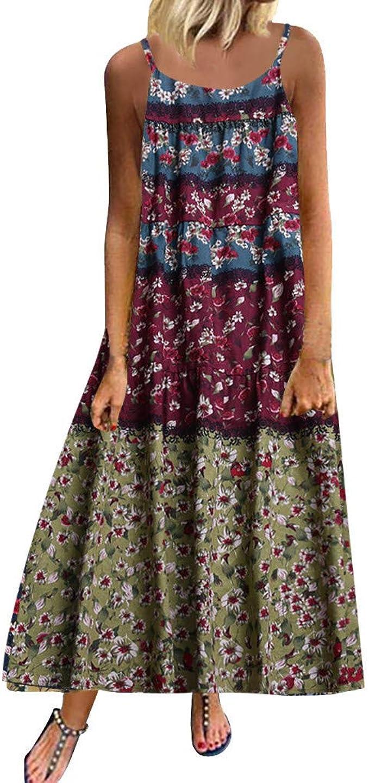 Damen Leinenkleid Sommerkleid Große Größen,Frauen Plus Size Bohemian O-Neck  Blumendruck Vintage Ärmelloses anges Maxikleid Trägerkleid Strandkleider