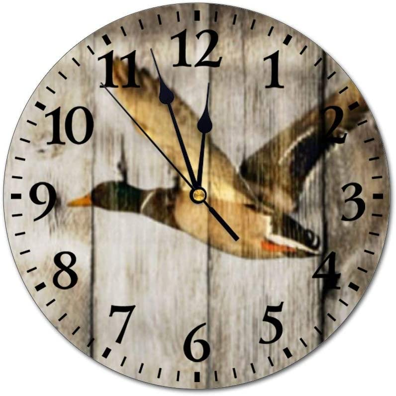 "PotteLove 12"" Silent Vintage Wooden Round Wall Clock Non Ticking Quartz Battery Operated, Rustic Barn Wood Western Country Flying Wild Duck Large Rustic Chic Style Wooden Round Home Decor Wall Clock"