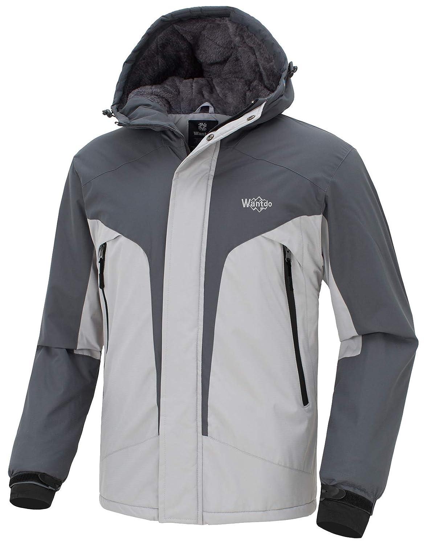 Wantdo Chaqueta con Capuchada de Esquí para Hombres con Bandas Reflectantes