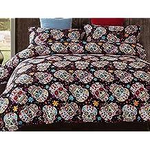 TRUST 100% 3D Skull Bedding sets Polyester Fully Reversible Modern Flower Skull Comforter Set, Queen Size, Multicolor (King Size)